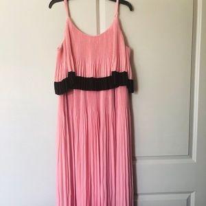Lane Bryant Pink-Black Layered Pleated Maxi Dress
